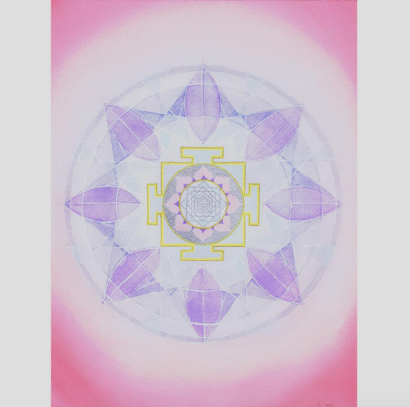 hello  #MantraMonday !! The  Venus yantra , for love and support with soft pale blues, pinks and purples. The Vedic mandala background is based on the number six vedic square. The associated mantra :  Om Shum Shukraye Namaha Om   #mantra   #yantra   #mandala   #venus   #vedic   #theplanets   #sacredart   #sacredgeometry