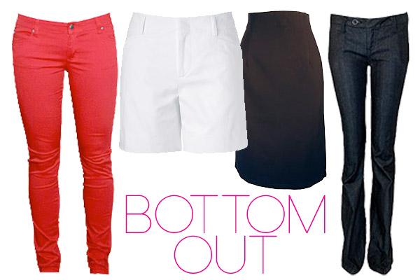bottom out! these bottoms are great for sitting on a plane.
