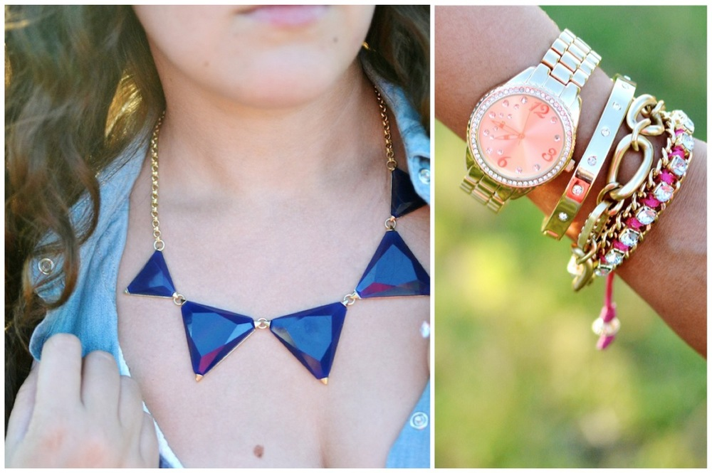 buried bauble bauble bar triangle navy necklace