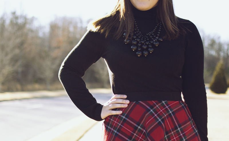Outfit 26 :: Plaid Skirt + Black Turtleneck. I'd actually tried this turtleneck sweater with my Kate Spade skirt in an attempt to make it look all black chic or like a dress, but it did NOT work. I ended up changing immediately. I don't mind it with the plaid skirt, though.  Plaid Skirt, XXI. Turtleneck,  Limited . Necklace,  Baublebar . Flats, Zara (gorgeous  similar from Nordstrom ).