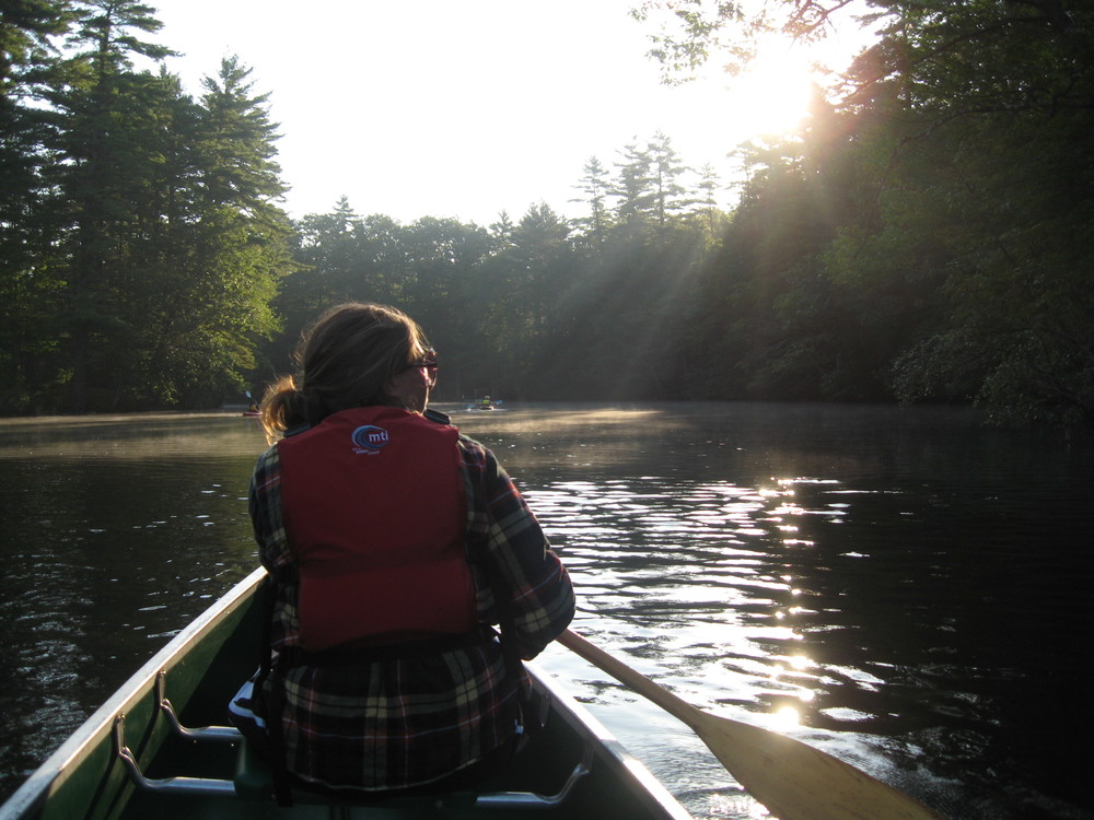 Emma Deans paddles on the Presumpscot River in southern Maine.