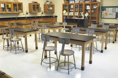 Classroom set-up with our Lab Stools and Tables