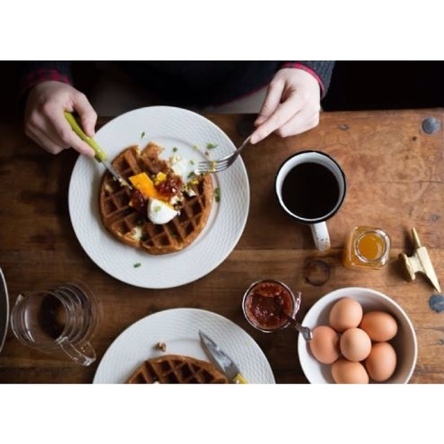 Spent the weekend prepping the menu for our next waffle brekky on 2/7.  Savory: ✓ poached egg, spiced tomato jam, herbs and cheddar  Sweet: ✓ pears, salt-candied pecans and cardamom cream  See you there!  8103 8th ave s. Seattle WA, 98108 8-1pm