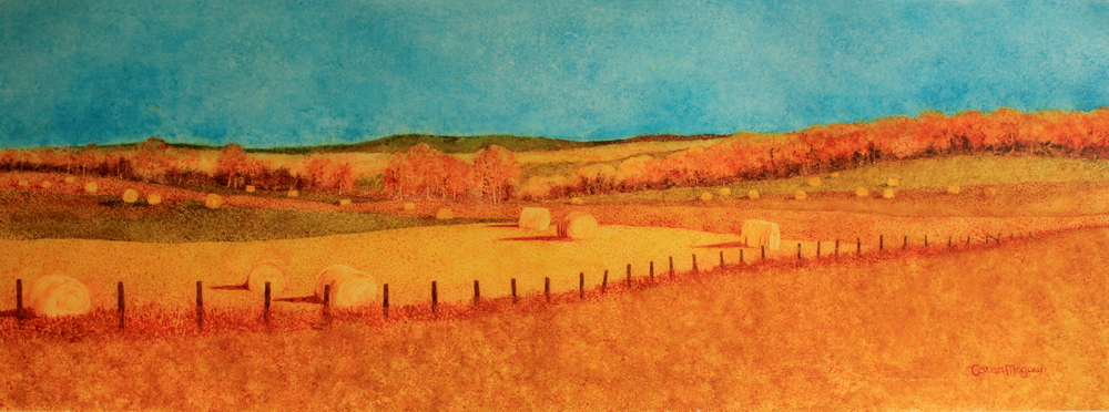 """""""Hay Bale Hill"""" Watercolour on Yupo, Framed 31 x 11"""" $600 A good friend Sheila Mitchell and I had finished a wonderful day of painting and were scooting home to our families at the end of the day when I spotted this field of hay bales. There was only time to do a 'drive-by shooting' as we like to call it, but the photo certainly provided me with enough information to complete the painting in my studio at home."""