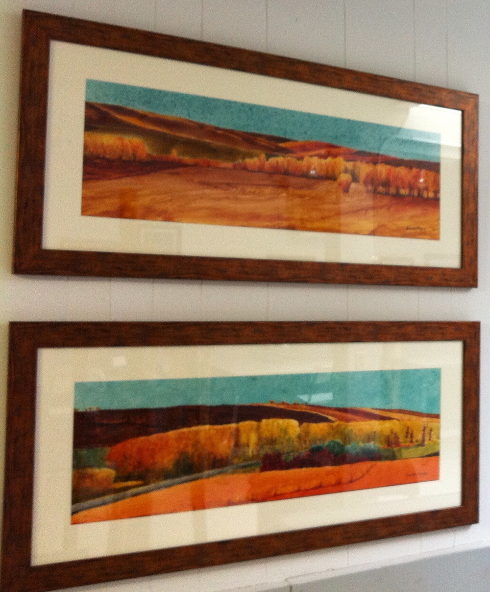 This photo roughly shows the framing - once the painting is under glass, its hard to photograph without glare.