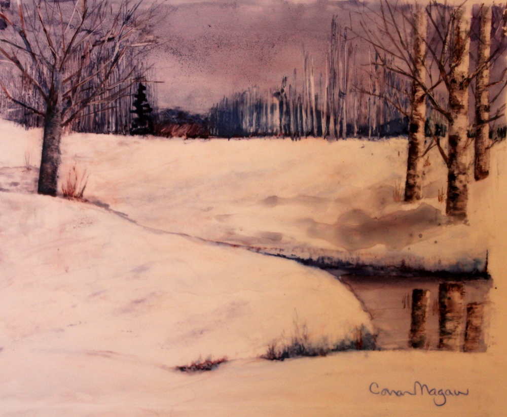 """Winter Pond"" Watercolour on Yupo, Framed 9 x 7"" $110 A small creek flowing into a little pond, with trees, background hills - all good…… Except the reference photo was from a particularly grey, nondescript time of year. Using blues and purples on white Yupo paper, a lovely wintery scene emerged!"