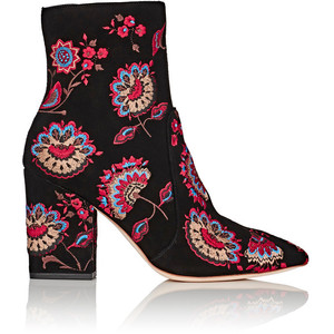 LOEFFLER RANDALL Isla Embroidered Suede Ankle Boots