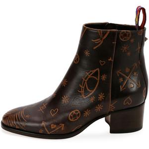 Valentino Santeria Embossed Leather Bootie, Light Brown