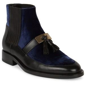 Balmain Theodorade Tassel Leather & Velvet Booties