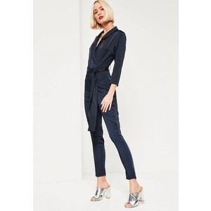 silky wrap shirt jumpsuit navy