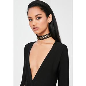 peace + love black embellished stud choker necklace