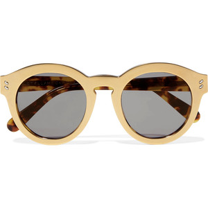 STELLA MCCARTNEY Round-frame gold-tone and acetete sunglasses