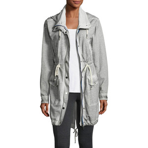 Grey State Snap-Front Hooded Anorak Jacket