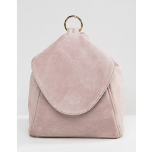 ASOS Suede Minimal Backpack With Ring Pull Detail