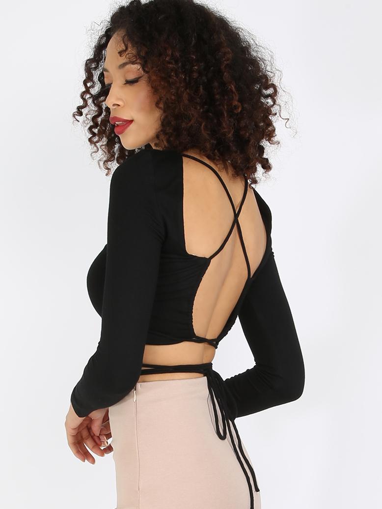 Black Criss Cross Backless Long Sleeve Crop Top
