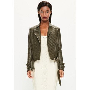 peace + love khaki faux leather quilted biker jacket