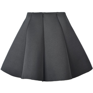 Choie's Black Structured Pleat Mini Skater Skirt