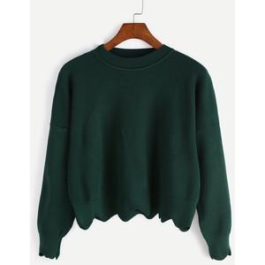 Dark Green Scalloped Crop Sweater