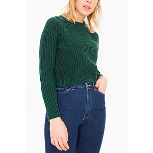 YOIN Chic Green Long Sleeves Cropped Knit Sweater
