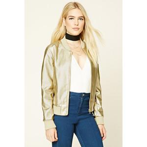 Metallic Faux Leather Jacket