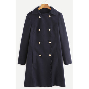 SheIn Navy Scallop Trim Double Breasted Coat