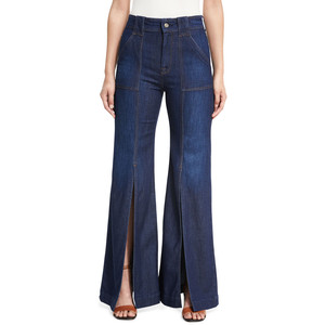 7 For All Mankind Palazzo Slit-Front High-Waist Denim Pants