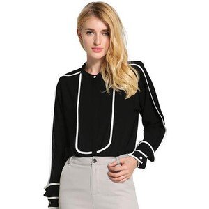 LIXMEE WOMEN BUTTON DOWN STRIPE MONO COLOR SHIRT