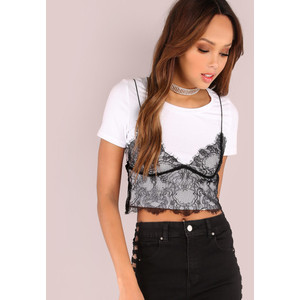 Short Sleeve Lace Cami Crop Top OFF WHITE