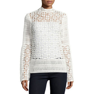 Dolce Cabo Long-Sleeve Crochet-Lace Blouse