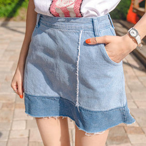 Color Block A Line Denim Skirt