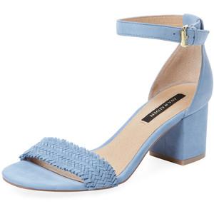 Woven Suede Block Heel Sandal