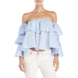 Cold-Shoulder Gingham Ruffle Shirt
