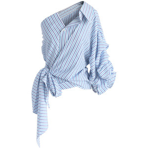 Cutting Edge Wrapped One-shoulder Top in Blue Stripes