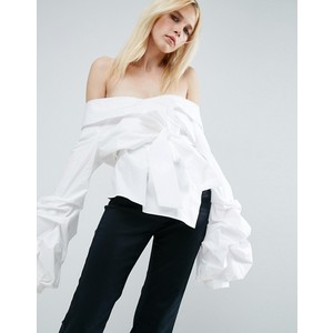 ASOS WHITE Off Shoulder Wrap Shirt