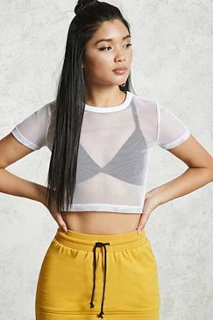 Forever 21 Cropped Fishnet Tee WHITE