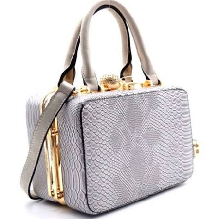 Cube style leather jeweled box bag clutch