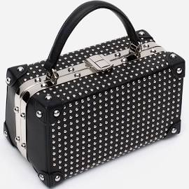 zara STUDDED BOX BAG EVENING CLUTCH SHOULDER STRAP BLACK