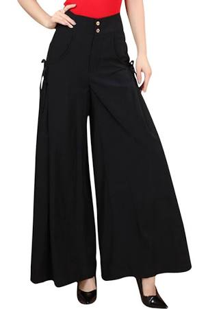 Womens High Waist Plain Leisure Palazzo Pants Black