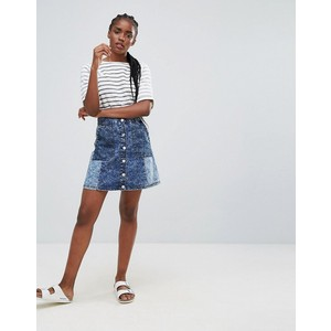 Bellfield Wiltoni Blocked Denim A Line Skirt
