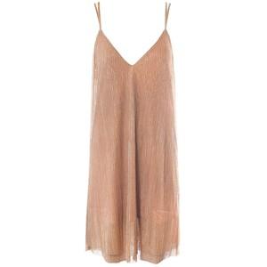 PLISSE SHIMMER SLIP DRESS