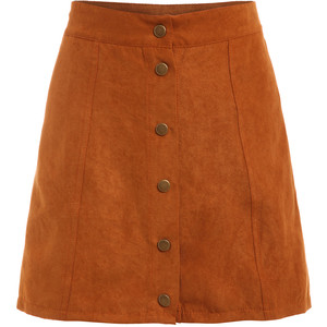 faux suede button front skirt