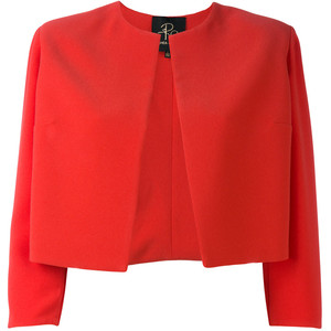 RHEA COSTA  cropped red jacket