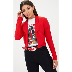 RED CROPPED TEXTURED BLAZER