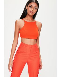 orange cross tie back crop top