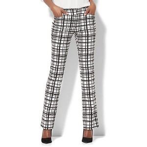 7TH AVENUE PANT - STRAIGHT-LEG - SIGNATURE - CHECK PRINT
