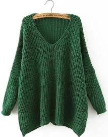 green v neck loose sweater