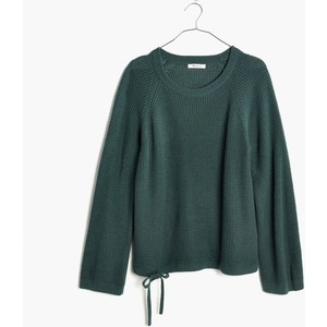 green wafflestitch drawstring sweater