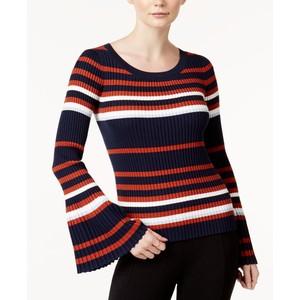 Bar III Striped Bell-Sleeve Sweater