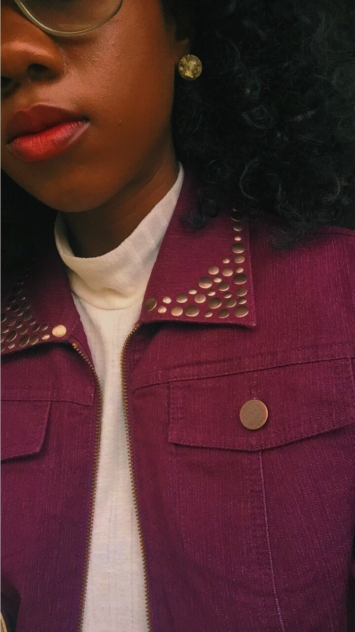 denim purple jacket details