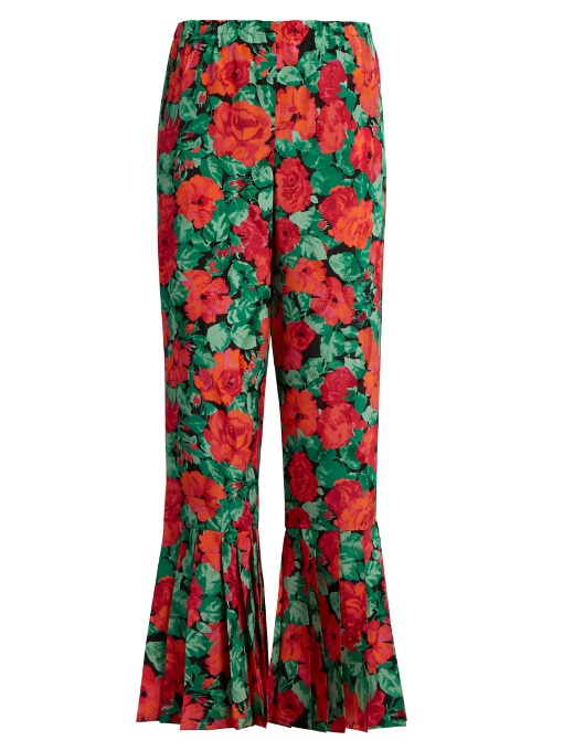 GUCCI  Floral-print pleated-hem silk trousers